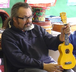 Caught teaching ukulele to a class, 2007